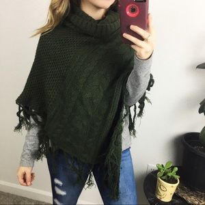 green poncho sweater